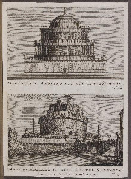 Mausoleo di Adriano nel suo antico stato ; Maus. di Adriano in oggi Castel S. Angelo_0