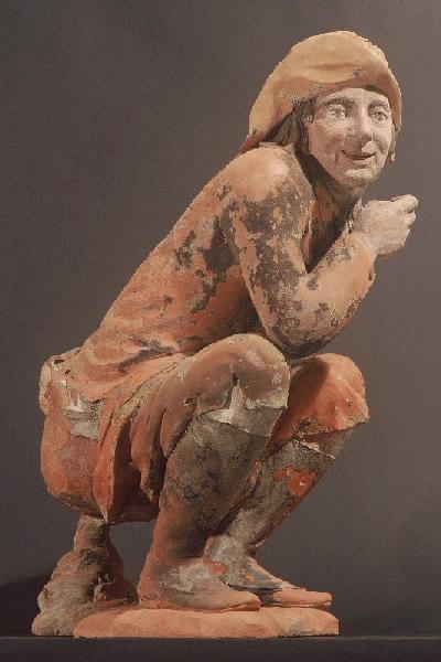 anonyme (sculpteur) : Manneken schijt ; Manneken kaken ; Het schiijtemaneke, L'Homme à la pipe