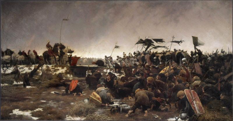 TATTEGRAIN Francis : Les Cassellois dans le marais de Saint-Omer se rendant à la merci du duc Philippe le Bon le 04 janvier 1430, La Soumission des Cassellois se rendant à la merci au duc de Bourgogne en 1430 (ancien titre)