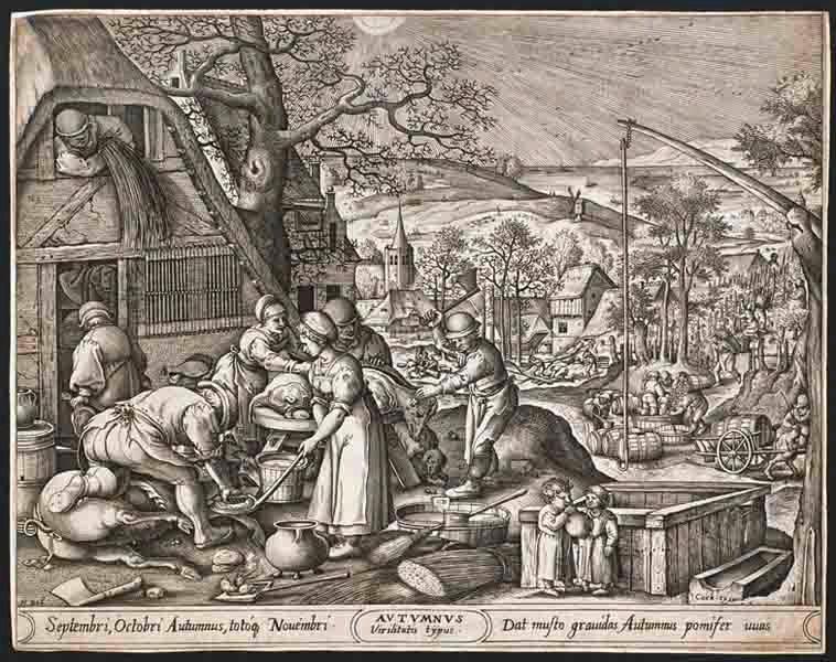 BOL Hans (d'après), HEYDEN Pieter van der (graveur), COCK Hieronymus (éditeur) : L'Automne