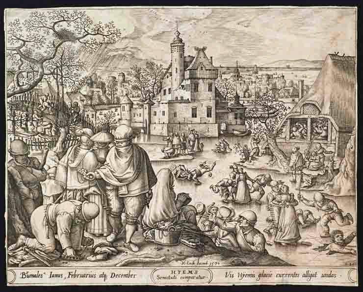 BOL Hans (d'après), HEYDEN Pieter van der (graveur), COCK Hieronymus (éditeur) : L'Hiver