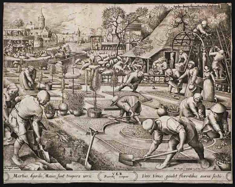 BRUEGEL Pieter I (d'après), HEYDEN Pieter van der (graveur), COCK Hieronymus (éditeur) : Le Printemps