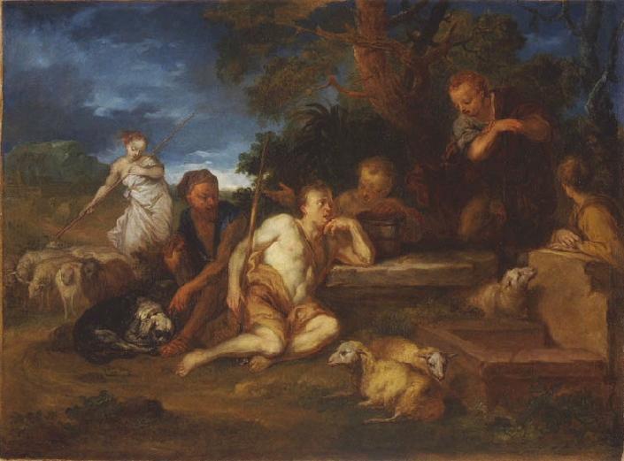 DEYSTER Lodewijk de : La Rencontre de Jacob et Rachel