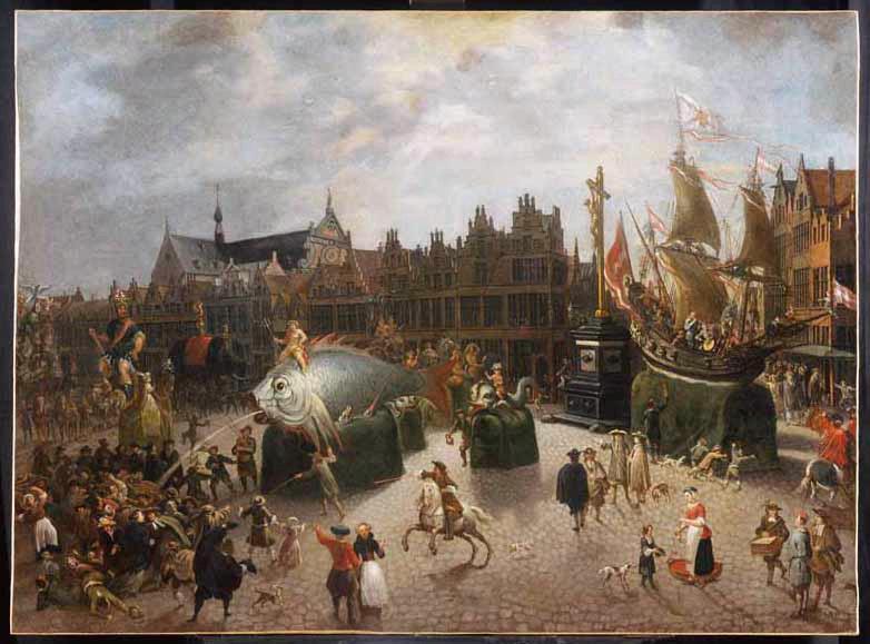 BIE Erasme de : Procession de chars sur la Place du Meir à Anvers