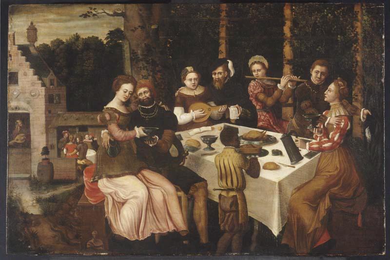 BENSON Ambrosius (entourage de) : Scène galante, Le Concert après le repas