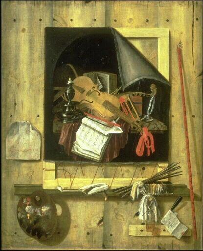 Nature morte en trompe l'oeil : toile et outils de peintre_0