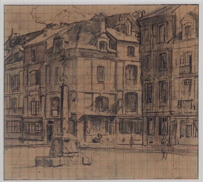 La halle au lin ; La rue Sainte-Catherine (autre titre) ; Une place à Dieppe (autre titre) ; Rue de la Boucherie à Dieppe (autre titre)_0