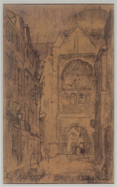 Portail sud de l'Eglise Saint-Jacques ; La rue Pecquet (Titre inscrit au catalogue de l'oeuvre de Sickert par Wendy Baron en 1973 (version 5))_0