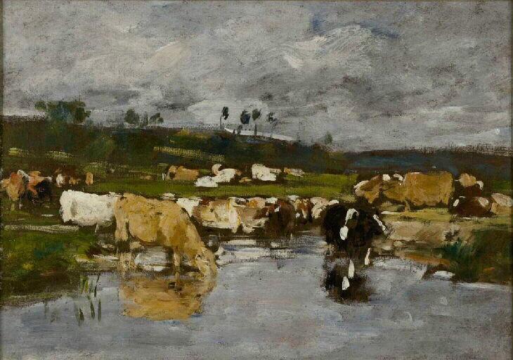 Paysage. Nombreuses vaches a l'herbage (Titre complet : Paysage. Nombreuses vaches à l'herbage dont une beige boit à la mare)_0