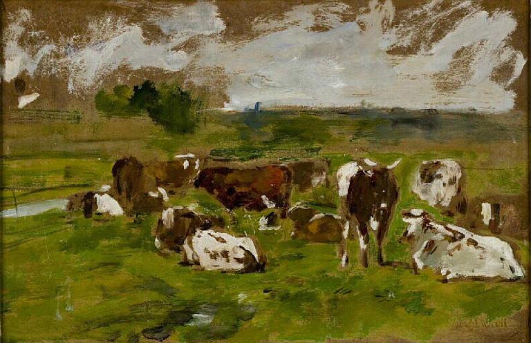 Etude ; Etude paysage vaches, ciel indiqué (ancien titre)_0