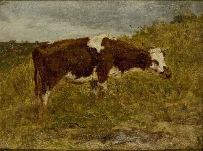 Paysage, une vache rousse_0