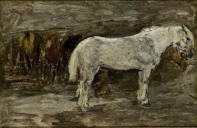 Plusieurs chevaux à l'écurie ; Plusieurs chevaux à l'écurie. Etude. 1er plan 1 blanc (ancien titre)_0