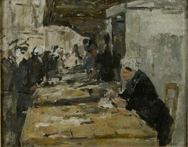 Intérieur avec plusieurs personnages ; Intérieur, plusieurs personnages. 1er plan femme assise à une table (ancien titre)_0