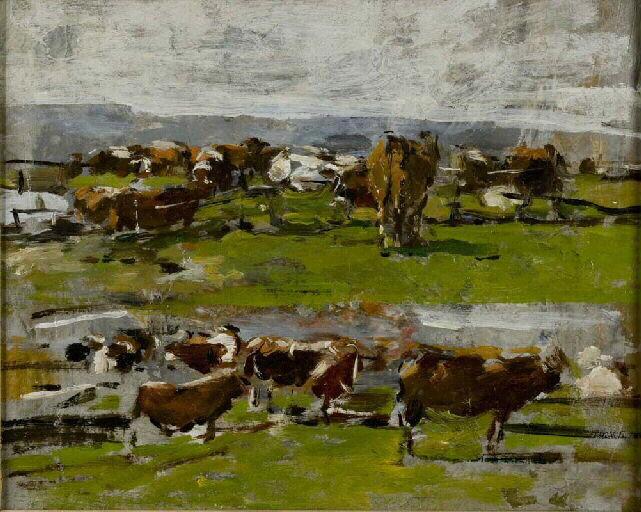 Paysage. Deux groupes de vaches_0