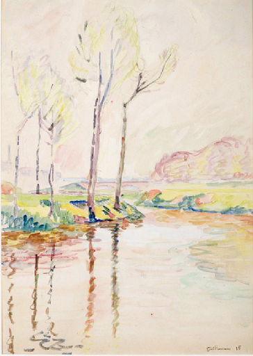 Paysage, arbres et rivière_0