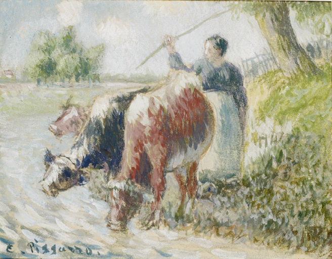 Paysanne gardant des vaches ; A la rivière (ancien titre Reynold Arnould)_0