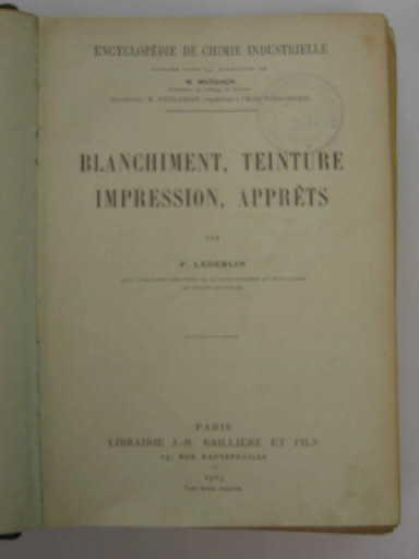 Blanchiment, teinture, impression, apprêts_0