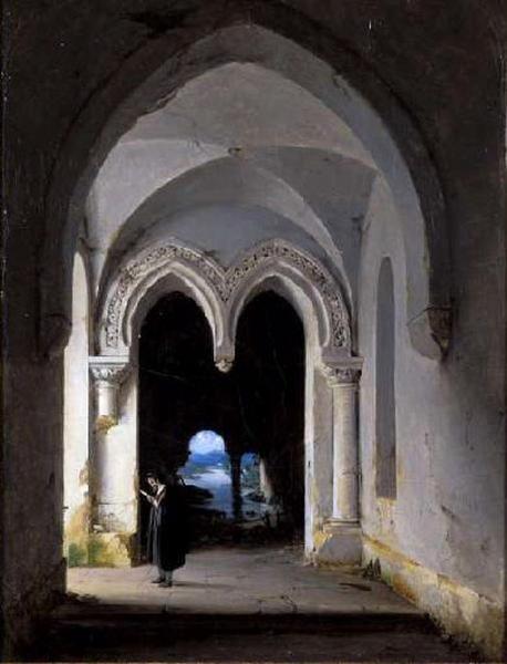 Personnage lisant dans une ruine gothique
