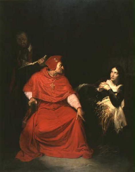 Jeanne d'Arc malade est interrogée dans sa prison par le cardinal de Winchester