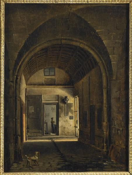 Vue du cloître de l'église Saint-Paul à Paris