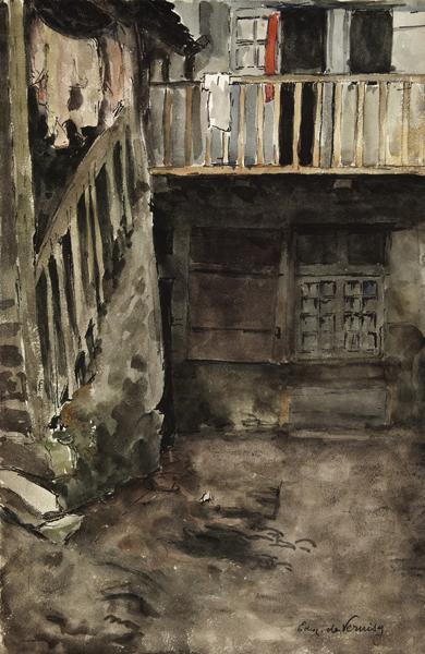 Escalier d'une vieille maison à Vannes