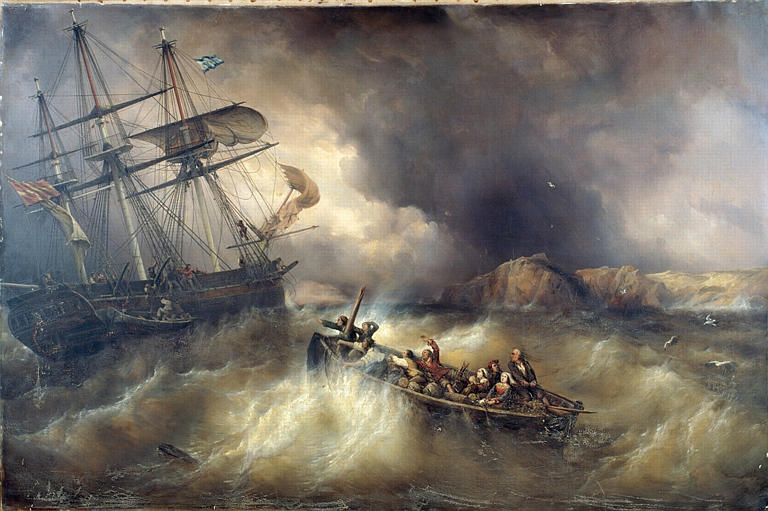 Sauvetage d'un bateau de pêche bas-breton, par le 'Neptune', navire danois, sur les côtes de la Basse-Bretagne_0