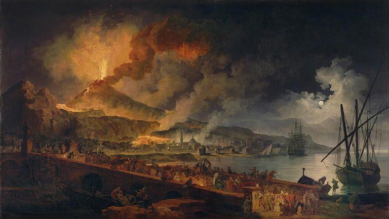Eruption du Vésuve en 1737 et vue de Portici_0