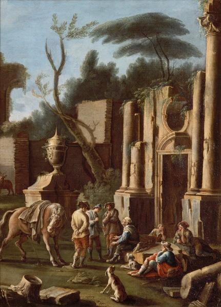 Cavaliers et mendiants dans des ruines