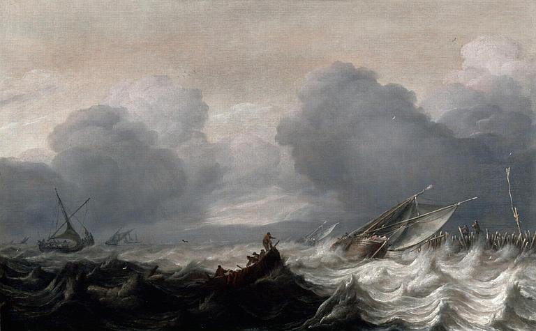 Marine, tempête dans un port_0