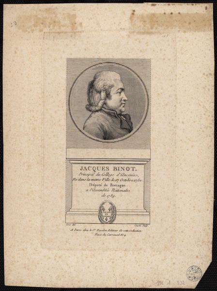 GROS Antoine Jean (d'après), COURBE (graveur) : Jacques Binot principal du collège d'Ancenis né dans la même ville le 17 octobre 1750 député de la Bretagne à l'Assemblée Nationale de 1789