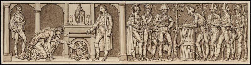 BERGERET Pierre Nolasque (dessinateur) : L'Empereur pardonne au Prince d'Asfeld, Prise de Seclin