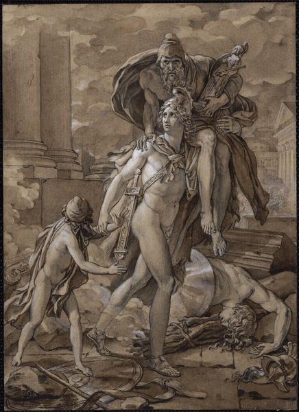 GERARD François baron (dessinateur) : Enée transporte Anchise hors de Troie