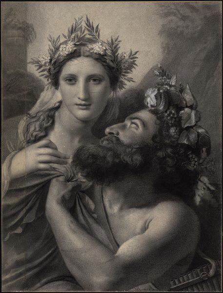 Nymphe et Faune ; Un satyre attirant dans ses bras une jeune nymphe (autre titre)_0