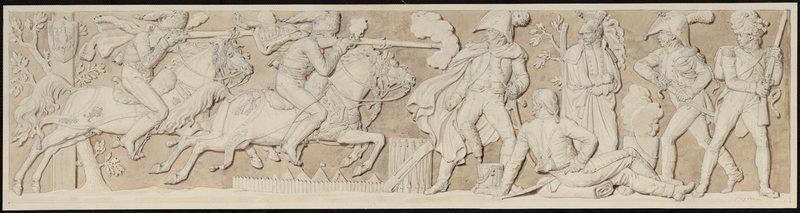 FRAGONARD Alexandre Evariste (dessinateur) : Combat entre cavaliers et fantassins