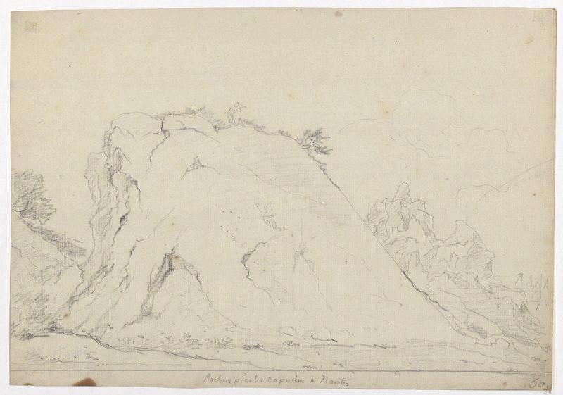CASSAS Louis François (dessinateur) : Rochers près les Capucins à Nantes