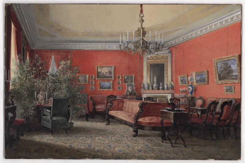 HAU Edouard (dit), KHAU Edward Ivanovich (d'après) : Intérieur : salon du Baron Alexandre de Krüdener