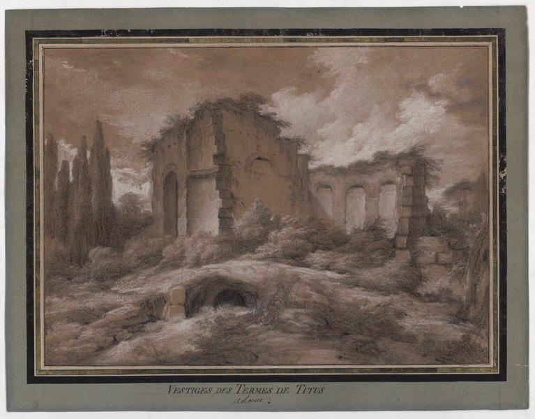 CHALLE Charles Michel Ange (dessinateur) : Vestiges des thermes de Titus à Rome