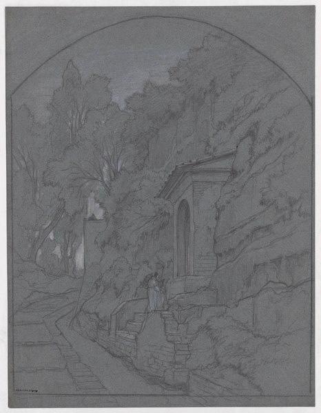 BERTIN Edouard (dessinateur) : Pélerin devant un oratoire en montagne