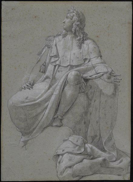 BLONDEL Merry Joseph (dessinateur) : Etude pour un Louis XIV