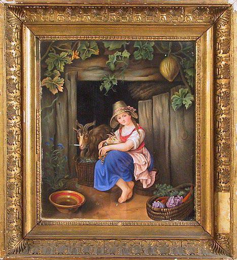 LOWNDES Jane (dessinateur) : Jeune fille assise devant une grange avec chèvre et chevreau.