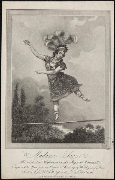 HUTCHINSON (d'après, peintre), ALAIS (graveur), BELLET SOLD (exécutant) : Madame Saqui the celebrated Performer on the Rope at Vauxhall