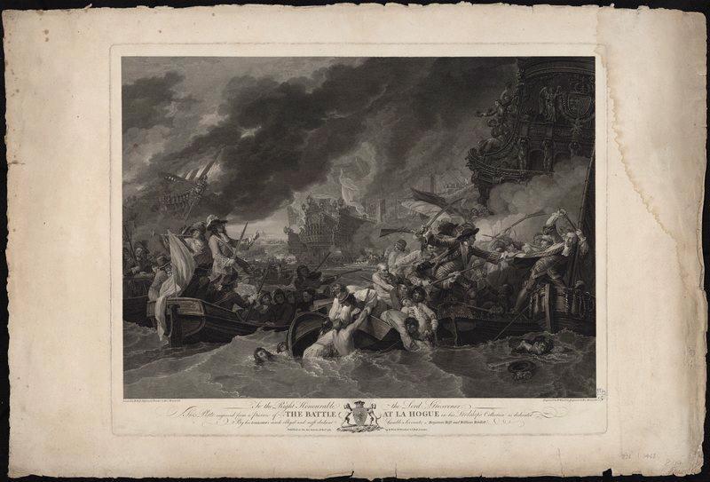 WEST Benjamin (d'après), WOOLLETT William (graveur) : Combat de la Hague, The Battle at La Hogue