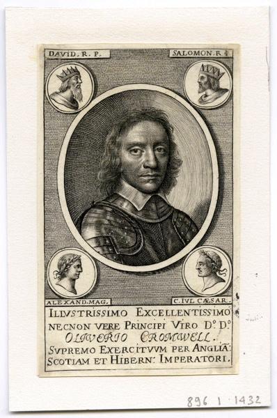 Olivier Cromwell entouré aux angles des effigies de Salomon, David, Alexandre, Jules César._0
