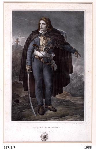 GIRODET DE ROUCY-TRIOSON Anne Louis (d'après, peintre), BELLIARD Zéphirin (graveur), VIDAL (dessinateur), SENTEX (lithographe, imprimeur) : Jacques Cathelineau