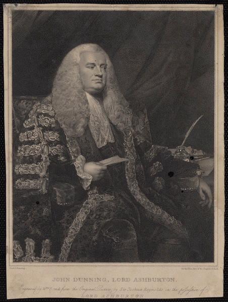 REYNOLDS Sir Joshua (d'après, peintre), BOND William (graveur) : John Dunning Lord Ashburton