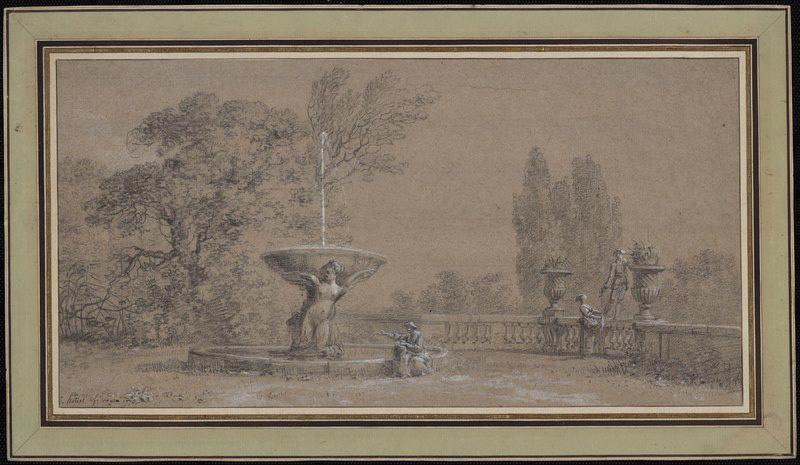 HOUEL Jean Pierre Louis Laurent (dessinateur) : Fontaine dans un parc