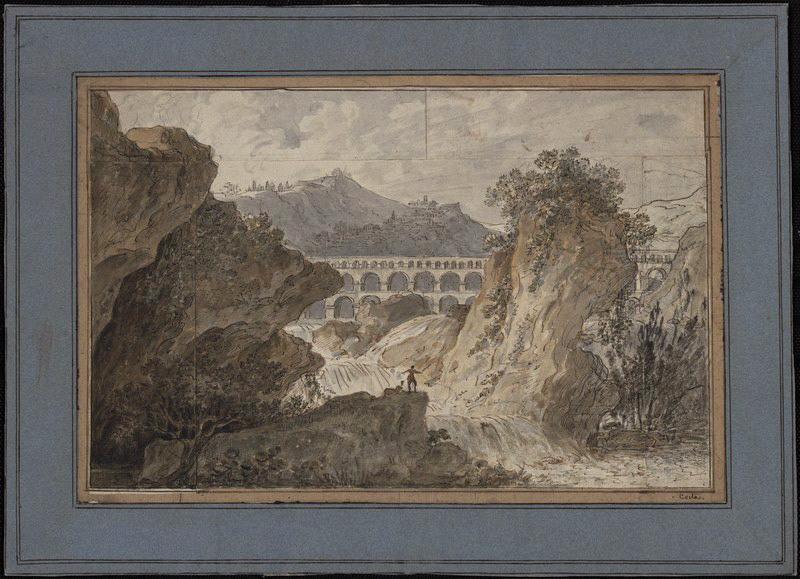 COSTE Jean-Baptiste (dessinateur) : Paysage avec aqueduc