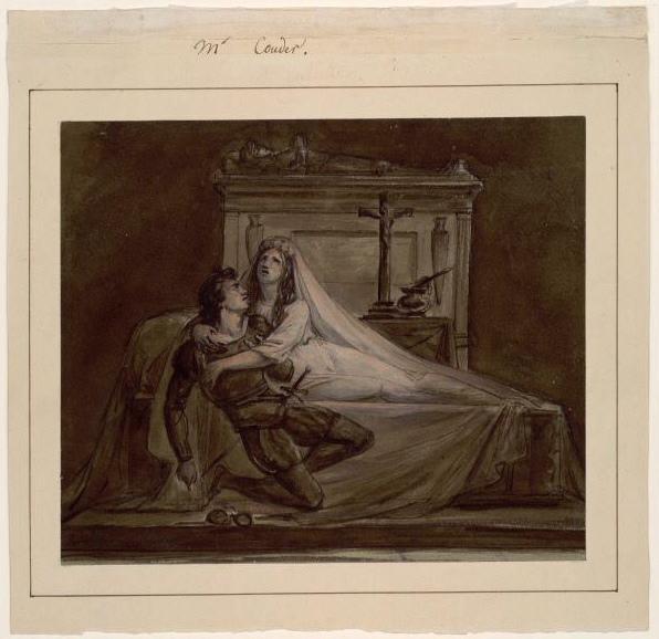 COUDER Louis Charles Auguste (dessinateur, peintre) : Scène de Roméo et Juliette de Shakespeare (une)