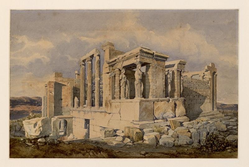 Vue du temple d'Erechtée à Athènes