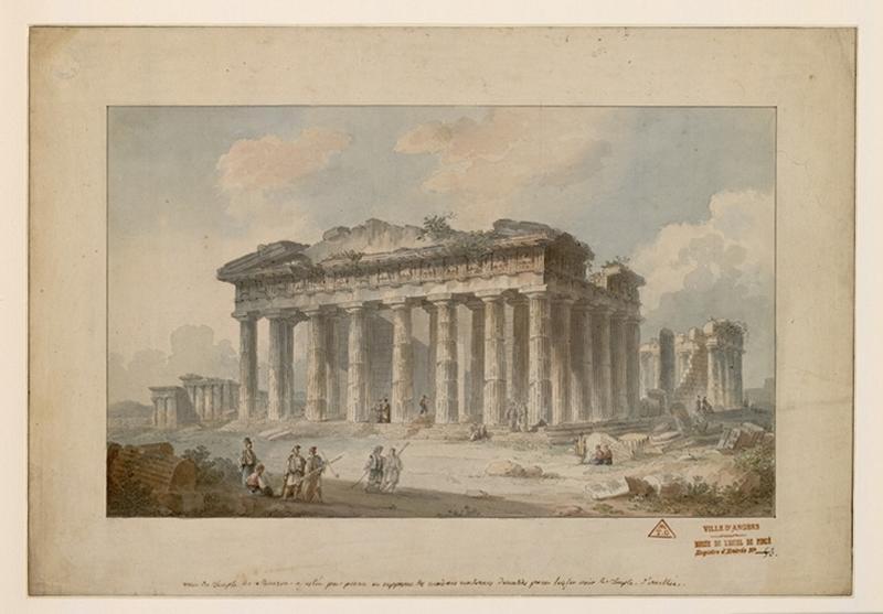BALLU Théodore (dessinateur, peintre) : Vue du Temple de Minerve